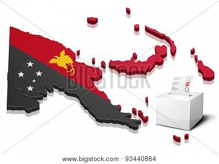 detailed illustration of a ballotbox in front of a map of Papua New Guinea, eps10 vector