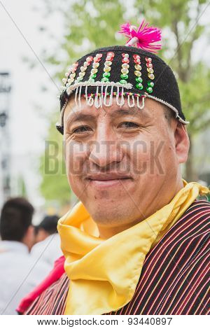 People From Bolivia In Their Traditional Clothing At Expo 2015 In Milan, Italy
