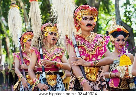 Unidentified Men With Pikes In Colorful Balinese Warrior Costumes