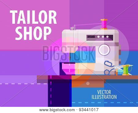 tailor shop vector logo design template. electric sewing machine or atelier icon