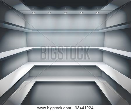 Shelves in shop. Vector illustration.