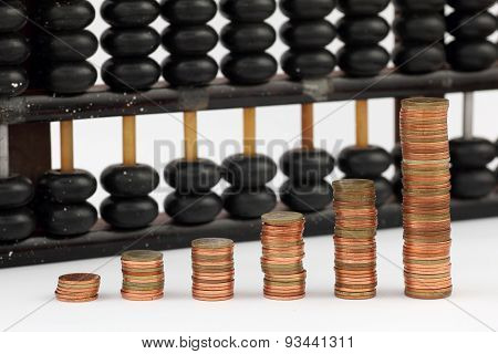 Group Of Gold Coin Graph Form And Abacus