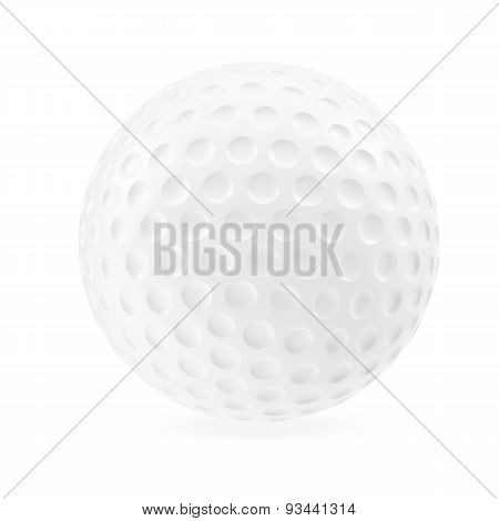 Golf ball isolated on white background with shadow.