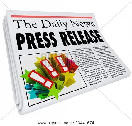 Press Release words in a newspaper headline to illustrate PR, an announcement or alert on your product, company or business