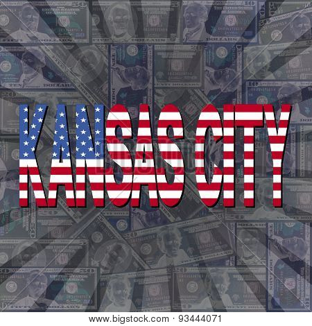 Kansas City flag text on dollars sunburst illustration