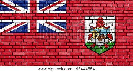 Flag Of Bermuda Painted On Brick Wall