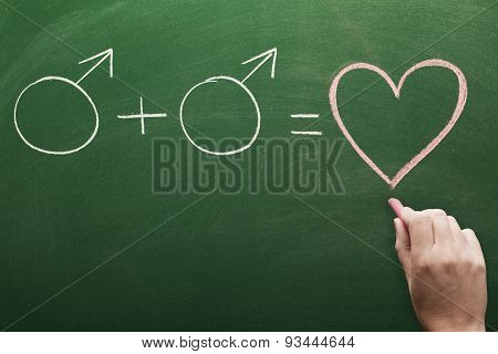 Homosexual relation concept on chalkboard