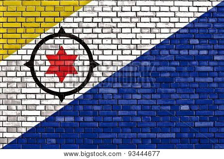 Flag Of Bonaire Painted On Brick Wall