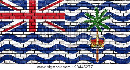 Flag Of British Indian Ocean Territory Painted On Brick Wall