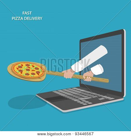 Fast Pizza Delivery Vector Illustration.