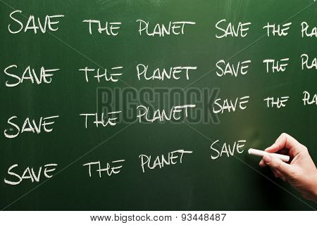 environment conservation message on blackboard