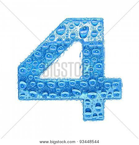 Fresh Blue alphabet symbol - digit 4. Water splashes and drops on transparent glass. Isolated on white