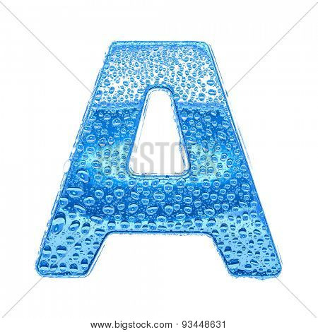 Fresh Blue alphabet symbol - letter A. Water splashes and drops on transparent glass. Isolated on white