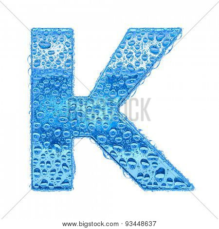 Fresh Blue alphabet symbol - letter K. Water splashes and drops on transparent glass. Isolated on white