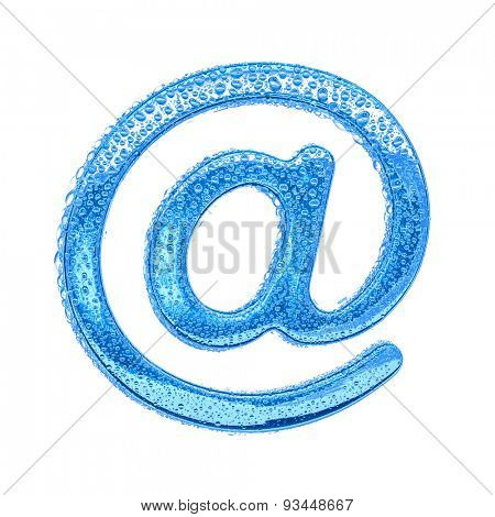 Fresh Blue alphabet symbol - email symbol. Water splashes and drops on transparent glass. Isolated on white