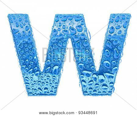 Fresh Blue alphabet symbol - letter W. Water splashes and drops on transparent glass. Isolated on white