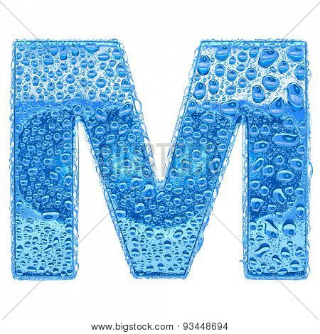 Fresh Blue alphabet symbol - letter M. Water splashes and drops on transparent glass. Isolated on white