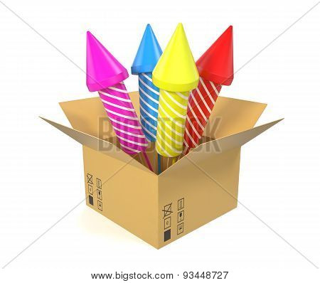 Cardboard box with festive rockets inside isolated on white background.