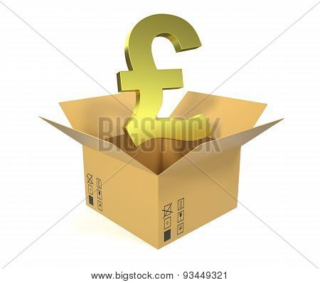 Cardboard box with a gold pound currency up isolated on white background.