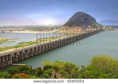 Prakasam Barrage in Vijayawada, India