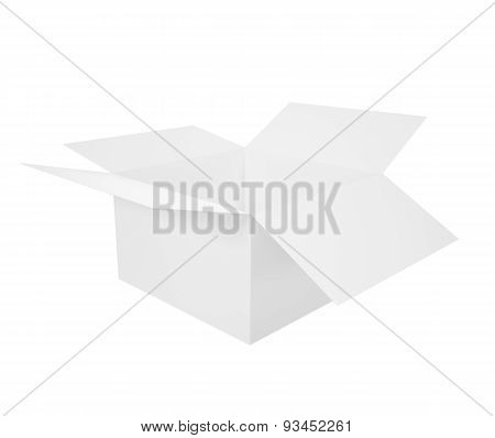 White cardboard box isolated on white background.