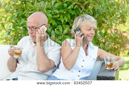 Couple With Their Phones Are Disgruntled