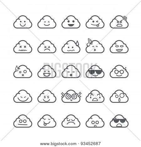 Collection Of Difference Emoticon Icon Of Cloud Icon On The White Background