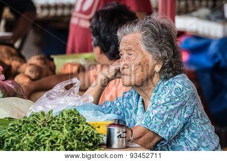 Senior Market Vendor In Kuching, Malaysian Borneo