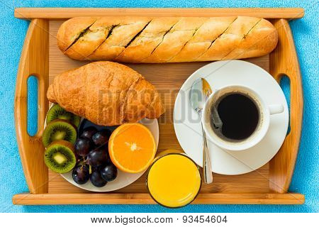Continental Breakfast On A Tray From Above A Close-up Shot