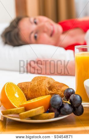 Cheerful Awakened The Girl And Breakfast In Bed