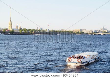 Landscape with the image of Neva River in St. Petersburg, Russia