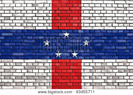 Flag Of Netherlands Antilles Painted On Brick Wall