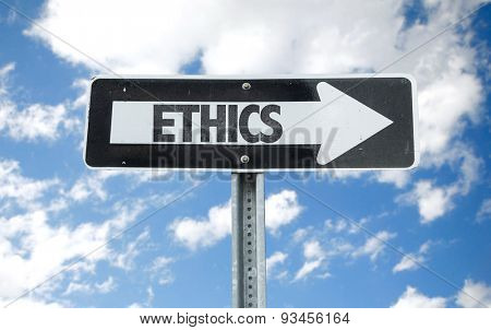 Ethics direction sign with sky background