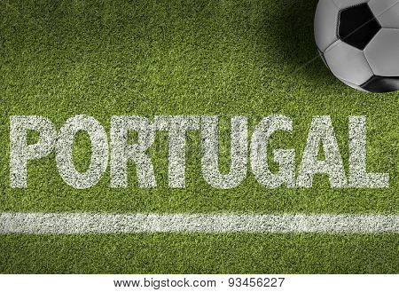 Soccer field with the text: Portugal