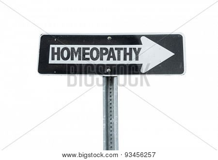 Homeopathy direction sign isolated on white