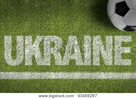 Soccer field with the text: Ukraine