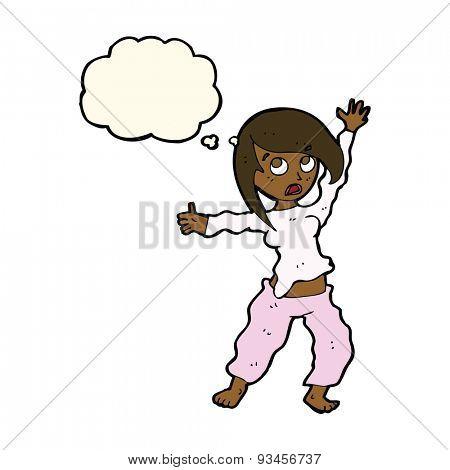 cartoon waving woman