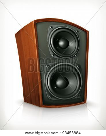 Audio speakers in plane wooden body, vector icon