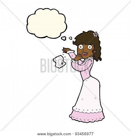 cartoon victorian woman dropping handkerchief with thought bubble