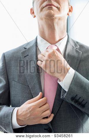 Midsection of mature businessman adjusting tie