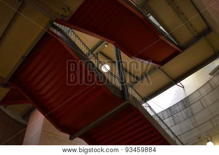 Red stairs in subway station