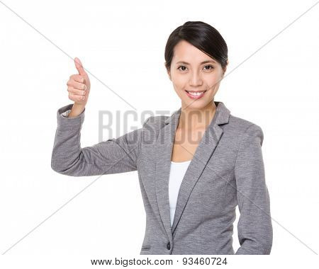 Businesswoman hold with thumb up gesture