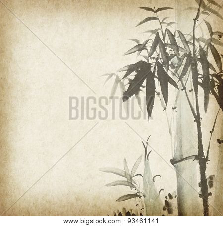 bamboo on old grunge antique paper textur