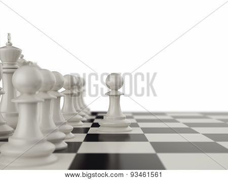 First move the pawns on a chessboard.