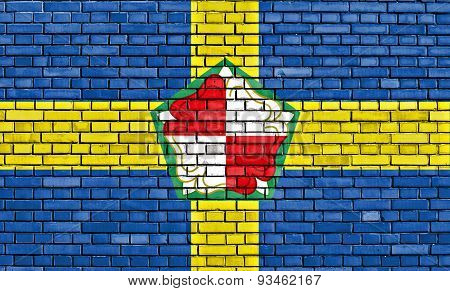 Flag Of Pembrokeshire Painted On Brick Wall