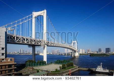 Tokyo City - Rainbow Bridge at sunny day