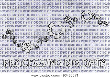 Gearwheels On Binary Code, Concept Of Processing Big Data