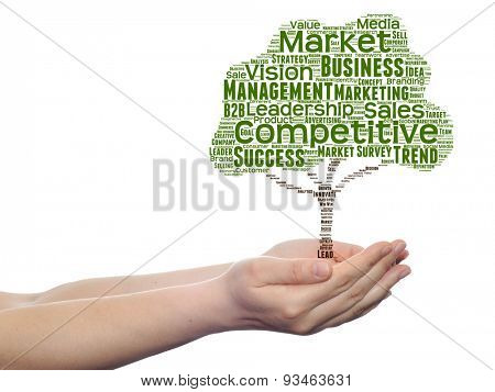 Concept or conceptual green tree media word cloud tagcloud in man or woman hand isolated on white background