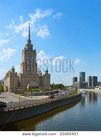 MOSCOW, RUSSIA - MAY 01: Stalin's famous skyscraper Hotel Ukraine on May 01, 2014 in Moscow, Russia.