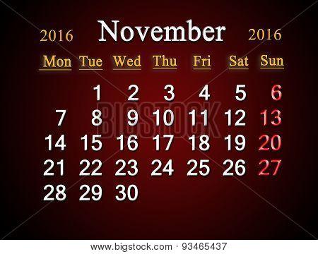 Calendar On November Of 2016 On Claret